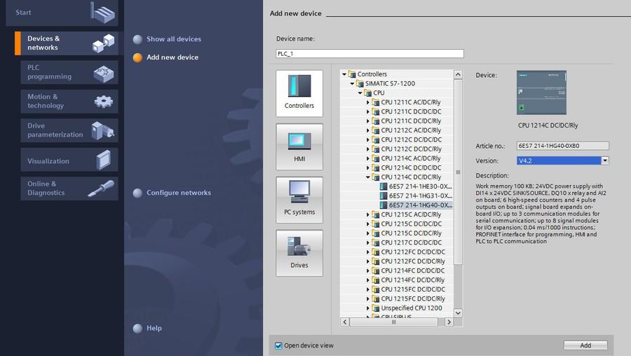 Добавление S7 1200 в проект Tia Portal