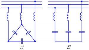 Настроенные пассивные фильтры с последовательным соединением реакторов, конденсаторов и включением в сеть параллельно по схеме «треугольник» (а) и «звезда» (б)